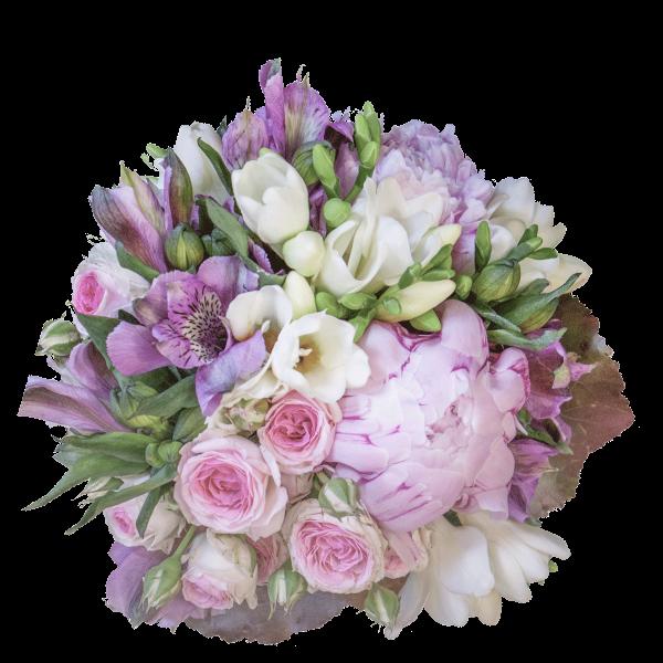 Bouquet fresia alstroemeria peomia roselline