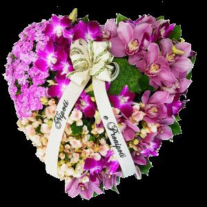 Cuore funebre tonalità lilla