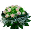 Bouquet rose rosa ortensia foglie di aralia
