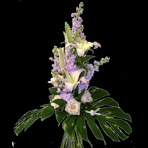 Mazzo violaciocca rose e lilium